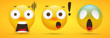 Emoji Collection That Shows Extreme Shock In Yellow Background