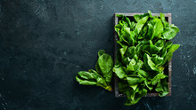 Spinach In A Wooden Box. Healt...