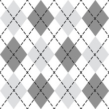 Black And Gray Trendy Argyle Seamless Pattern - Modern Design Element Background In Black And White