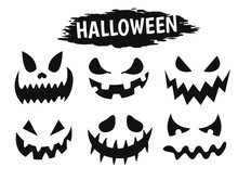 Emotional Face Icon Showing A Variety Of Shadows During The Halloween Season.