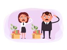 Fired Dismissal Office Workers Man Woman People Characters. Vector Design Graphic Flat Cartoon Illustration