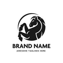 Circle Horse Head Vector Logo Design Template