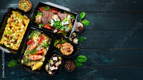 Healthy Dietary Meal. Delivery of restaurant dishes. Top view. Free copy space. - 274724822