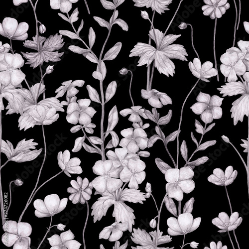 Türaufkleber Künstlich Seamless pattern of monochrome pencil botanical sketches of wild flowers. Hand-drawn geranium, petunia and anemone on black background. Vintage style.