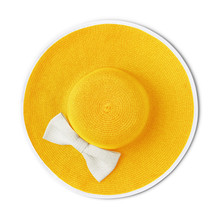 Top View Summer Beach Round Straw Yellow Hat With White Bow Isolated On White Background