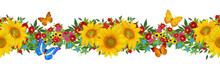 Floral Seamless Pattern. Horizontal Border. Yellow Sunflowers, Green Leaves, Bright Flowers, Butterfly