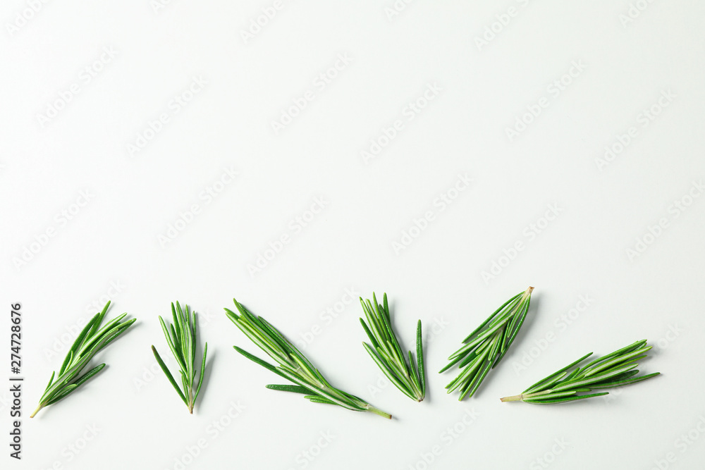 Fototapety, obrazy: Flat lay composition with rosemary on white background, space for text