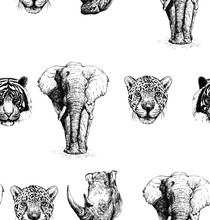 Seamless Pattern Of Hand Drawn Sketch Style Portraits Of Animals: Tiger, Rhino, Elephant And Leopard Isolated On White Background. Vector Illustration.