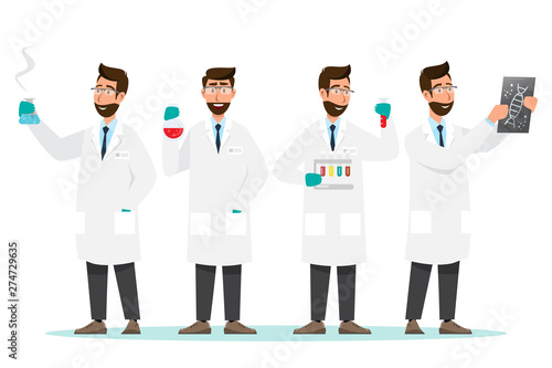 Stampa su Tela medical concept. Scientists man research in a laboratory lab