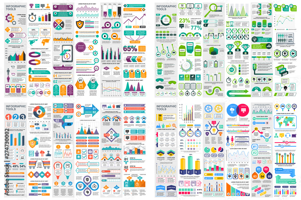 Fototapety, obrazy: Set of infographic elements data visualization vector design template. Can be used for steps, options, business process, workflow, diagram, flowchart concept, timeline, marketing icons, info graphics.