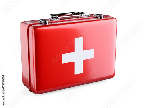 Obraz First aid kit isolated on white background - fototapety do salonu
