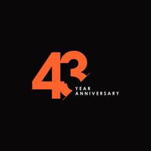 43 Years Anniversary Vector Template Design Illustration