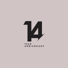 14 Years Anniversary Celebration Vector Template Design Illustration