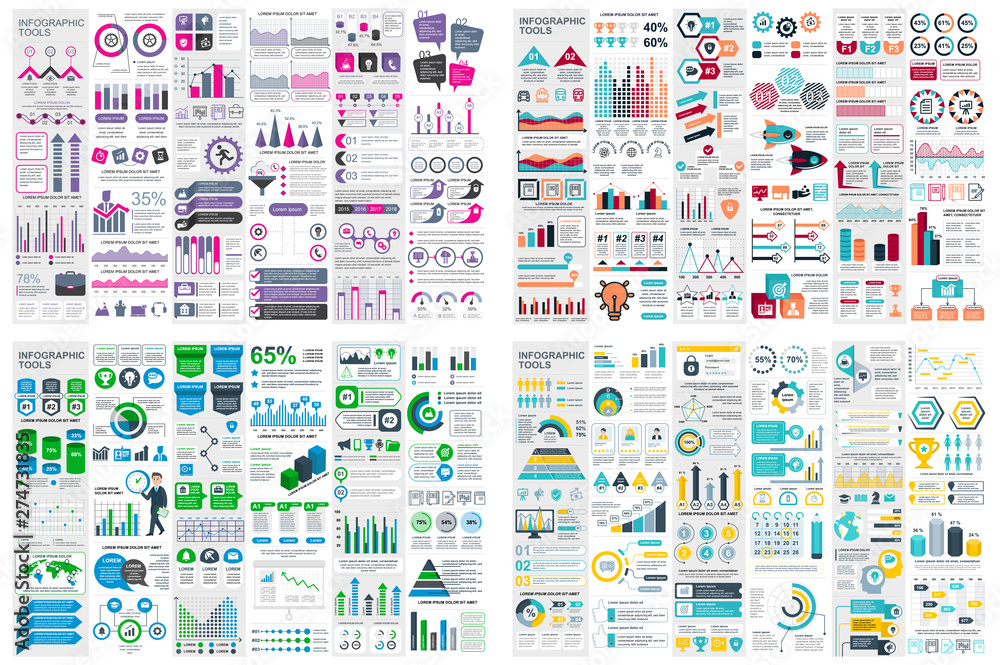 Fototapeta Set of infographic elements data visualization vector design template. Can be used for steps, options, business process, workflow, diagram, flowchart concept, timeline, marketing icons, info graphics.