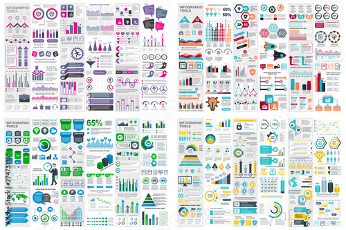 Set of infographic elements data visualization vector design template Wallpaper Mural