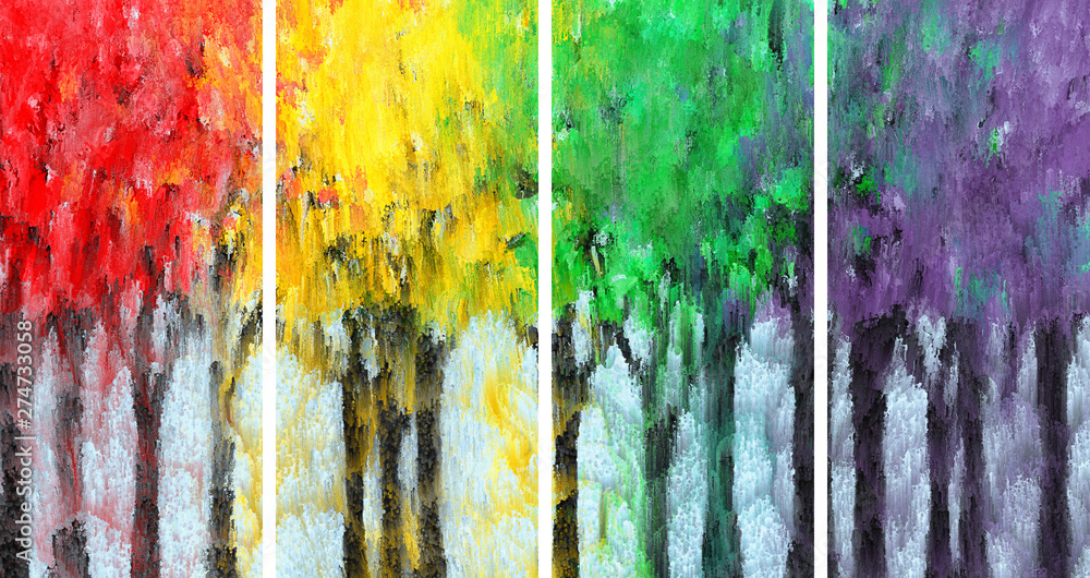 Fototapeta Painting of Impressionist colored forest