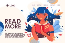 Educational Banner Or Landing Page Concept Template About Love To Reading. Vector Lovely Woman Character Portrait, Holding Paper Book In Hands