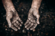Leinwanddruck Bild - Dirty hands of worker miner are corns palms in abrasions. Concept hard work