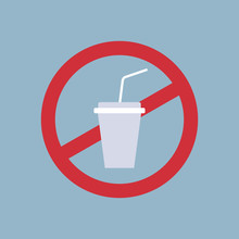Say No To Plastic Cup Poster Pollution Recycling Ecology Problem Save The Earth Concept Ban Cups Straws Prohibition Sign Flat