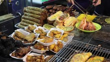 Vietnam, Phu Quoc Island, Night Market, March 2019. Street Cooking Vietnamese Food In The Market