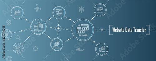 Carta da parati Website Data Transfer Icon Set and Web Header Banner