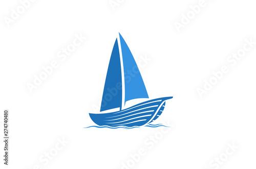 Fototapeta Creative Blue Yacht Boat Logo Design Vector Symbol Illustration obraz