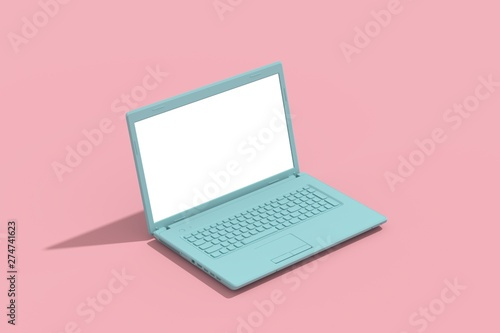 Fotografia  Green laptop empty screen on pink background, minimal creative concept, 3d rende