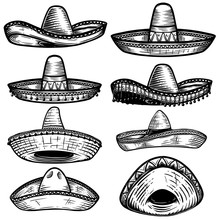 Set Of Mexican Sombrero In Tattoo Style Isolated On White Background. Design Element For Poster, T Shit, Card, Emblem, Sign, Badge.