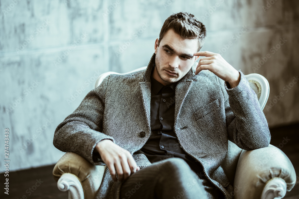 Fototapeta thoughtful stylish man