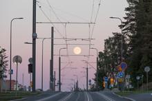 Tramline During The Full Moon