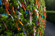 Close-up shallow depth of field shot of brightly-coloured ribbons attached to a wish tree to signify a hoped-for event