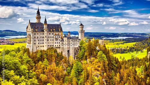 Montage in der Fensternische Himmelblau Neuschwanstein, summer landscape panorama picture of the fairy tale castle near Munich in Bavaria, Germany