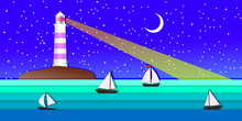 Sea Landscape With Lighting Lighthouse. Dark Sky Moon And Stars. Sailing Ships Regatta. Navigational And Travel Concept.