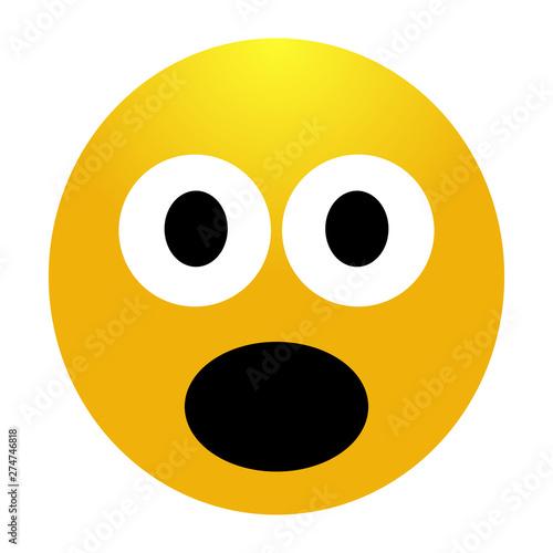 Shocked emoji. Surprised Emoticon. Surprised emoji isolated Canvas Print