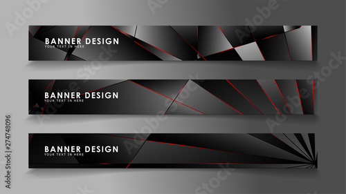 Fototapeta Square banner vector collection . Black premium background with luxury dark polygonal pattern and red triangle lines obraz