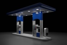 Abstract 3d Render Of Gas Station Isolated On Black Background