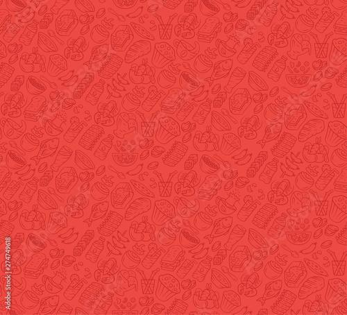 Canvas-taulu Food vector seamless pattern