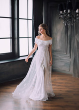 Gentle Princess In Long Light White Dress With Open Shoulders In Dark Black Room In Gothic Style, Fabulous Girl, Vintage Gown, Hall With Large Windows, Beauty Sharpened In Mysterious Castle.