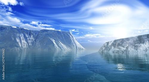 Cuadros en Lienzo Iceberg in Antarctica, melting glacier, 3D rendering