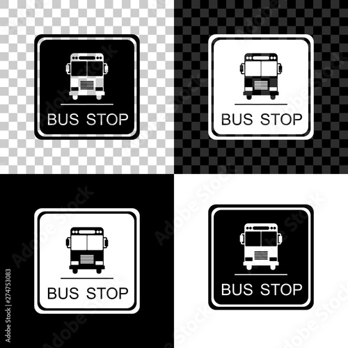 Fototapety, obrazy: Bus stop icon isolated on black, white and transparent background. Vector Illustration