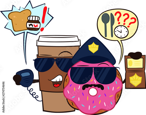 Obraz na plátně Cute cartoon Donut and a cup of coffee from the police department Breakfast and snacks will not leave you hungry
