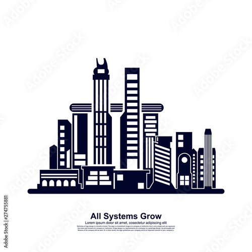 Poster Turquoise Modern City skyline . city silhouette. vector illustration in flat design. Vector silhouettes of the worlds city skylines