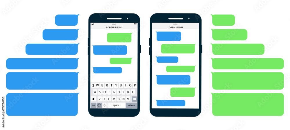 Fototapety, obrazy: Flat Messages Bubbles. Messages on screen Phone flat design. Short Message Service Bubbles