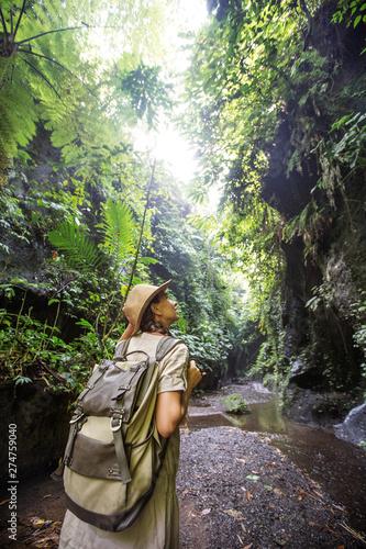 Woman in jungle on Bali, Indonesia Fototapeta