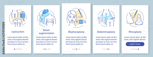 Plastic surgery procedures onboarding mobile app page screen with linear concept Wallpaper Mural