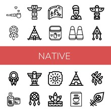 Set Of Native Icons Such As Pipe Of Peace, Dreamcatcher, Totem, Teepee, Cave Painting, Corn, Native American, Sticky Rice, Headdress , Native