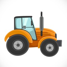 Orange Tractor Vector Illustra...