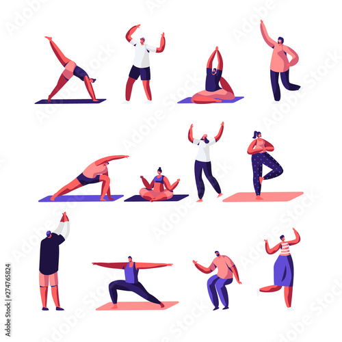 Male And Female Characters Sport Activities Set People Doing Sports Yoga Exercise Fitness Workout In Different Poses Stretching Healthy Lifestyle Leisure Cartoon Flat Vector Illustration Buy This Stock Vector And Explore