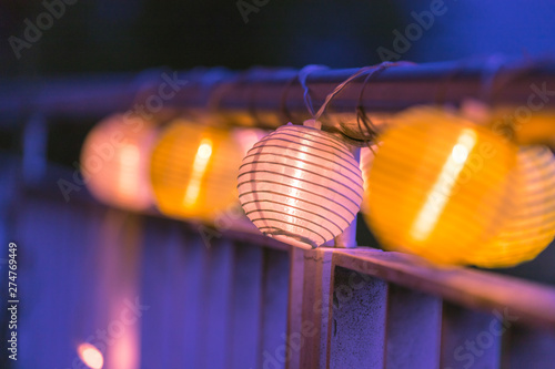 Lampions in the night: Garden party in summer - 274769449