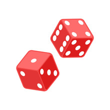 Red Dice Illustration. Vector....